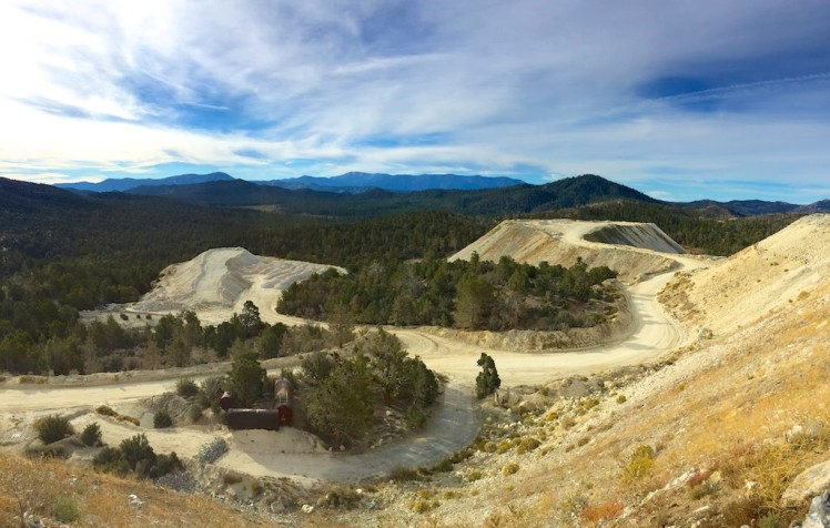 "Looking over a modern day gold ""mine"" south east and toward Mt Bertha"