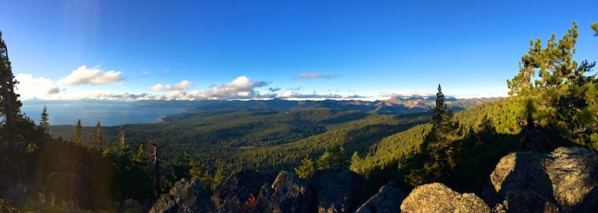 Lake Tahoe to left and looking east from Mt Watson